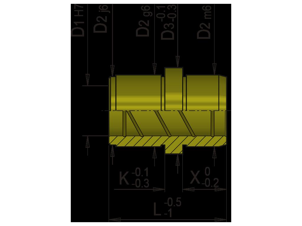 bussola guida in bronzo spallata per tavolini EB3B