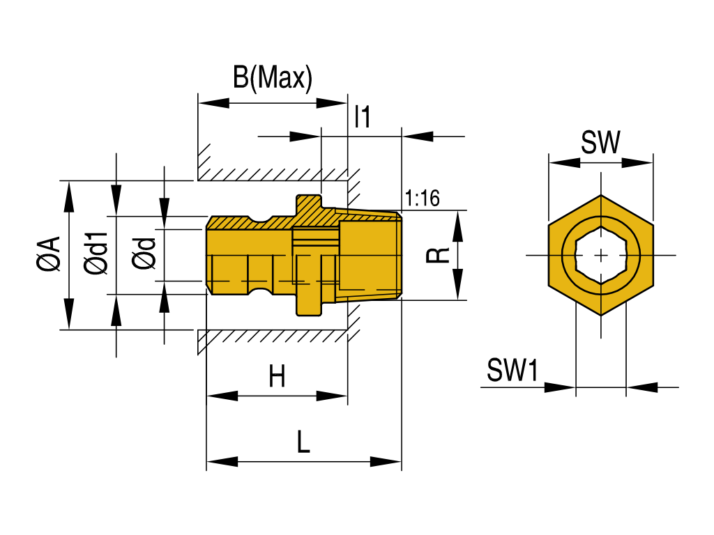 connettore con esagono interno N-AHN