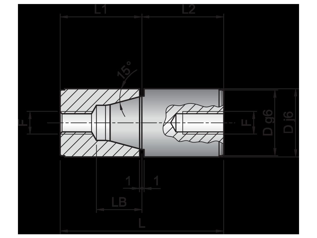 centraggio conico con vite europa T05