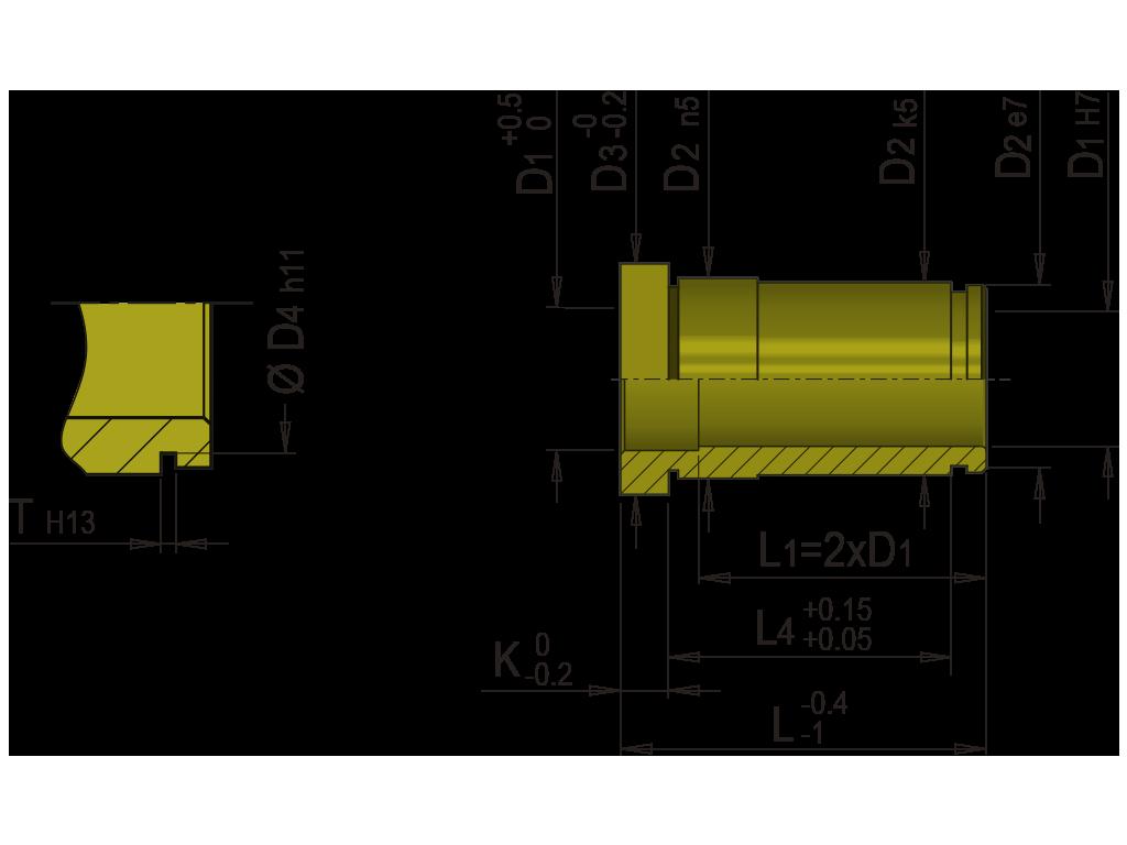 bussola guida bronzo con collare europea T11B