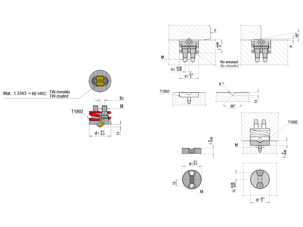 bloccaggi per slitta T1892/ T1893