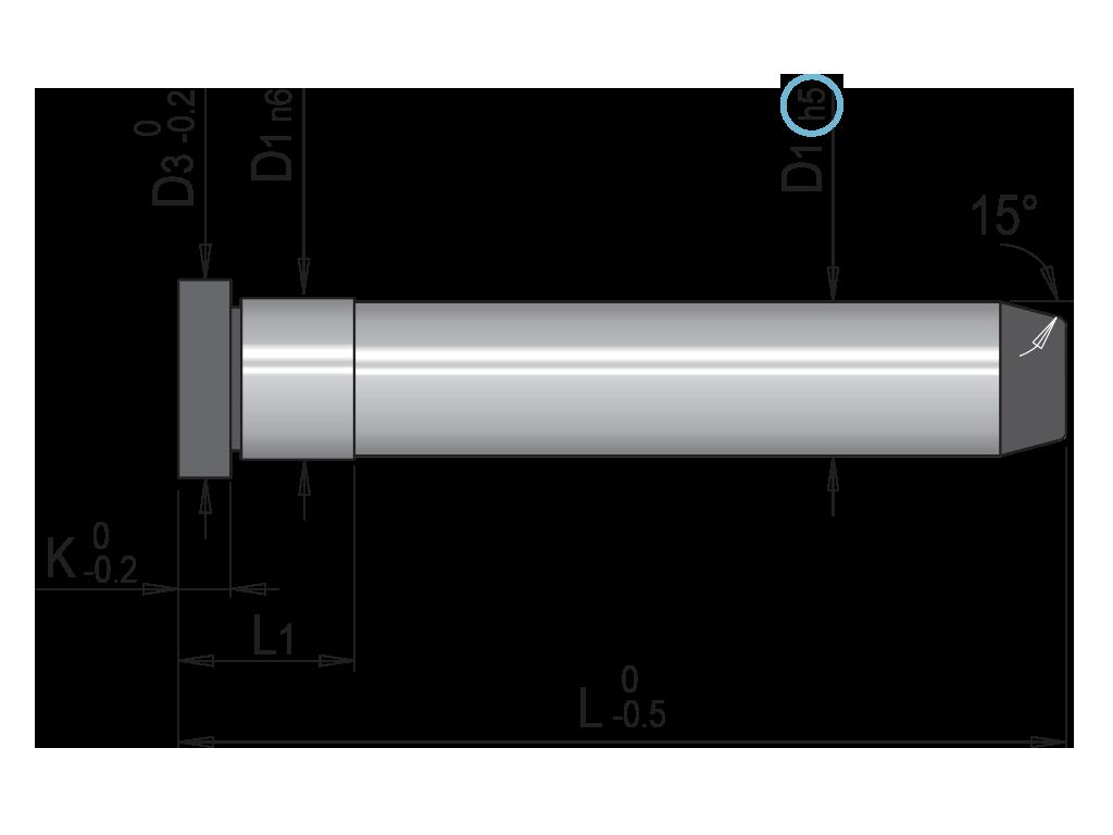 colonna guida liscia per gabbia a sfera T012M