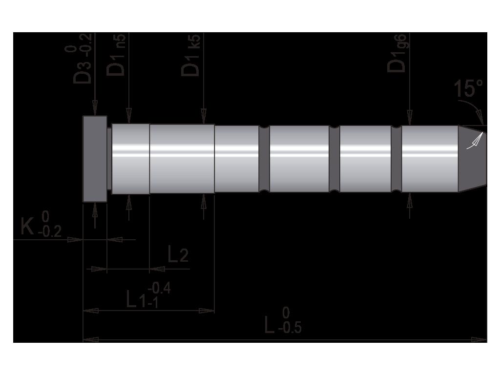 colonna guida un diametro testa bassa T20M